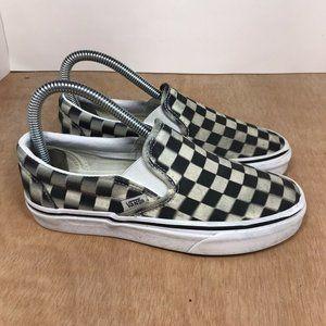 VANS Slip On Checkerboard Black Canvas Low sz 5.5